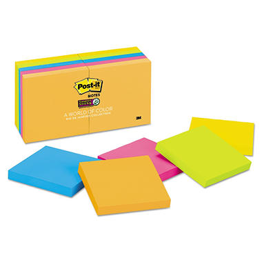 Post-it Notes Super Sticky - Pads in Rio de Janeiro Colors, 3 x 3, 90/Pad -  10 Pads/Pack