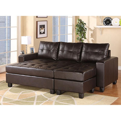 Aspen Sectional Leather Sofa with Ottoman