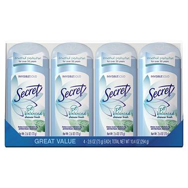 Secret Invisible Solid Deodorant - Shower Fresh - 2.6 oz. - 4 ct.