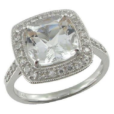 White Topaz & White Sapphire Ring in 14K White Gold