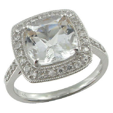 White Topaz & White Sapphire Ring in 14K White Gold