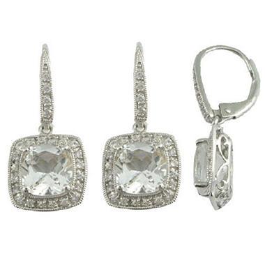 White Topaz & White Sapphire Earrings in 14K White Gold