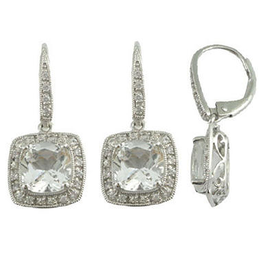 White Topaz & White Sapphire Earrings in 14K White Gold