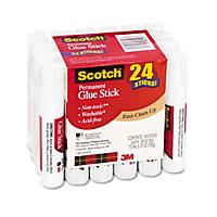 Scotch Permanent Glue Sticks, .28 oz Sticks., 24pk.