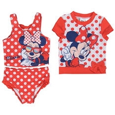 Girl's Minnie Mouse Rashguard and 2-Piece Bikini Set