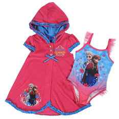 Girl's Frozen One-Piece Swimsuit with Matching Cover Up