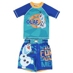 Boy's Frozen Olaf Rashguard and Swim Trunk Set