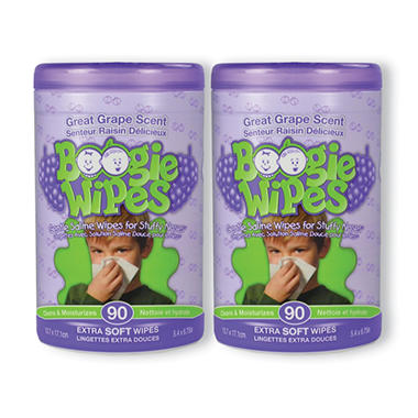 Boogie Wipes Saline Nose Wipes - Grape Scent - 180 ct.