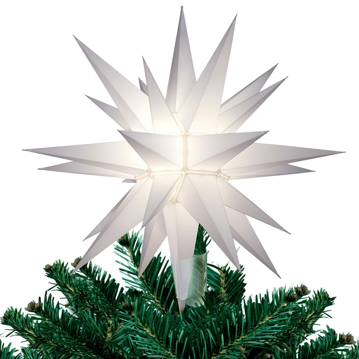 12 lighted white moravian star christmas tree topper star. Black Bedroom Furniture Sets. Home Design Ideas