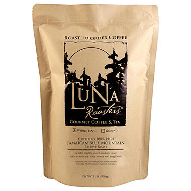 Luna Roasters 100% PURE Jamaican Blue Mountain Roast-to-Order Whole Bean Coffee - 2 lbs.