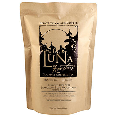 Luna Roasters® Jamaican Blue Mountain - 100% PURE, Whole Bean, Artisan Roast Coffee (2lbs.)
