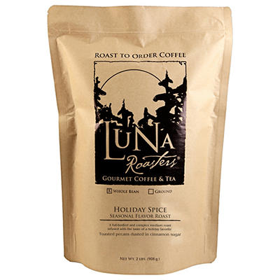 Luna Roasters® Holiday Spice, Flavored Whole Bean, Artisan Roast Coffee (2lbs.)