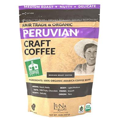 Luna Roasters® Peru Fair Trade Organic, Whole Bean, Artisan Roast Coffee (2lbs.)