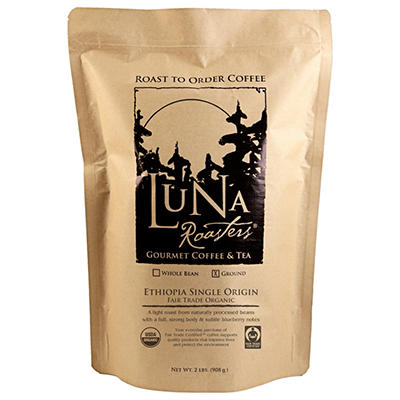 Luna Roasters Ethiopia Fair Trade Organic, Ground, 100% Artisan Roast Coffee (2 lb.)