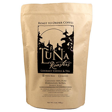 Luna Roasters® Hawaiian Kona-100% PURE, Whole Bean, Artisan Roast Coffee (2lbs.)