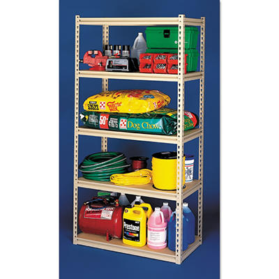 "Tennsco 48"" x 24"" x 84"" 5-Shelf Stur-D-Stor Industrial Strength Shelving Unit - Sand"