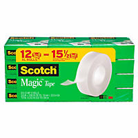 "Scotch Magic Tape, 1"" Core, 3/4"" x 1296"", Clear, 12pk."