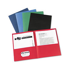 Avery Two-Pocket Portfolio, Embossed Paper, 30-Sheet Capacity, Assorted Colors - 25 ct.