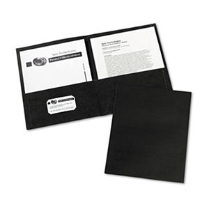Avery Two-Pocket Embossed Paper Portfolio, 30-Sheet Capacity, Black - 25 ct.