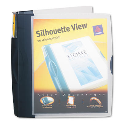 """Avery Silhouette Poly View Binder with Inside Pocket, 1-1/2"""" Capacity - Dark Blue"""