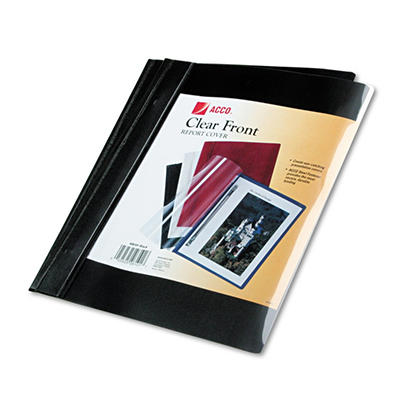 """ACCO Vinyl Report Cover, Prong Clip, Letter, 1/2"""" Capacity - Clear Cover/Black Back"""