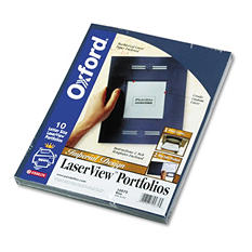 Oxford Imperial Series Laserview Business Portfolio, Cover Stock, Blue - 10 pk.