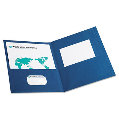Oxford Twin-Pocket Portfolio, Embossed Leather Grain Paper, Blue - 25 ct.