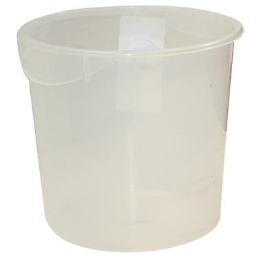 "Rubbermaid Commercial Round Storage Container - 8 qt. - 10"" Diameter x 10 5/8""H - Clear"