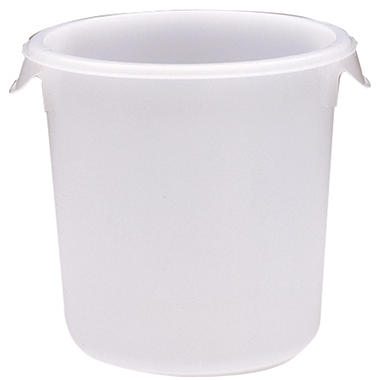 "Rubbermaid Commercial Round Storage Containers - 4 qt. - 8 1/2"" diameter x 7 3/4""H - White"