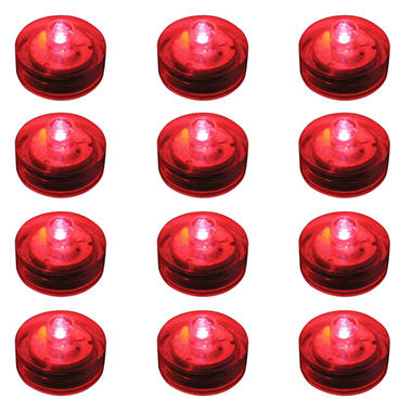 Water Proof LED Lights - Red - 12 ct.