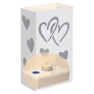 Battery Operated Luminaria Kit - Silver Hearts - 12 ct.