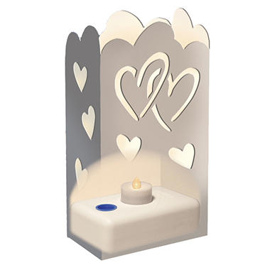 LED LumaLantern Luminaria Kit - Silver Hearts - 24 ct.