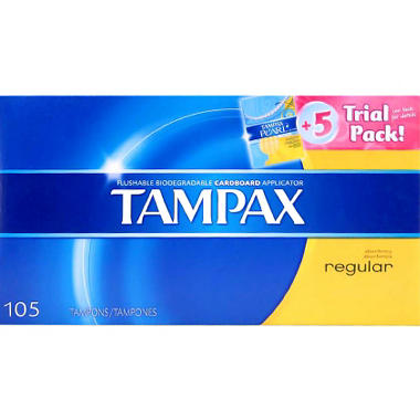 Tampax Tampons, Regular (100 ct.) + 5 ct. Tampax Pearl Trial Pack