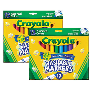 Crayola - Broadline Washable Markers - 12 Per Pack - 2 Packs