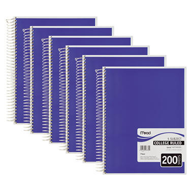 Mead 5 Subject Notebook, College Rule, 8-1/2 x 11, White - 200 Sheets per Pad - 6 Pads