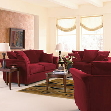 Kara Sofa Sleeper Set - Berry - 4 pc.