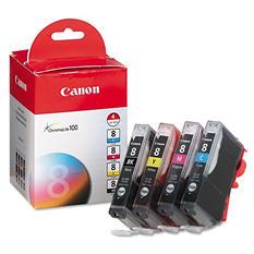 Canon CLI-8 Ink Tank Cartridge, Black/Cyan/Magenta/Yellow (4 pk.)
