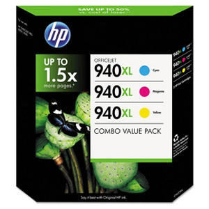 HP 940XL Original Ink Cartridge, Cyan/Magenta/Yellow (3 pk., 1,400 Page Yield)