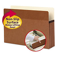 "Smead 3 1/2"" Easy Grip Accordion Expansion Pockets, Legal, Redrope, 25ct."
