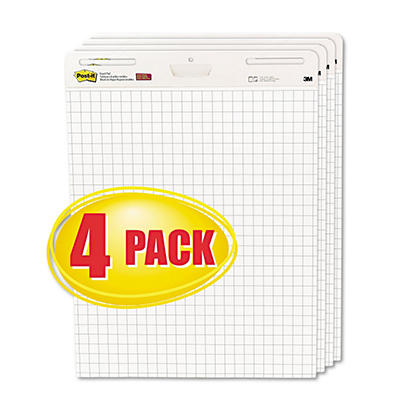 Post-It - Self-Stick Easel Pads, White w/Grid, 30 Sheets - 4 Pack