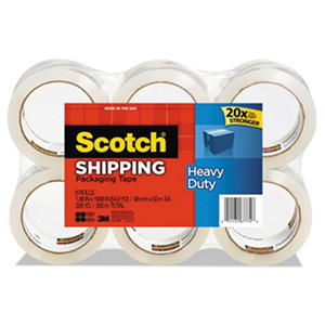 "Scotch 3850 Heavy Duty Shipping/Packaging Tape, 1.88"" x 54.6 yds., 6pk."