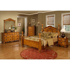 Vivian Post Bed Bedroom Set (Choose Size)