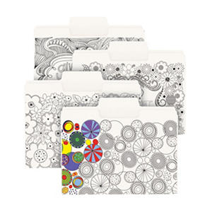 "Smead SuperTab Coloring File Folders, 1/3 Cut Assorted Positions, 3/4"" Expansion, Letter, White, 24pk."