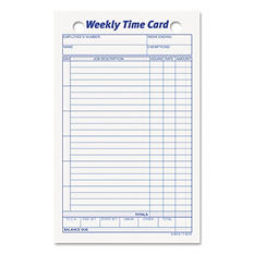 TOPS - Employee Time Card, Weekly, 4-1/4 x 6-3/4 -  100/Pack