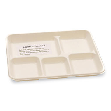 Compostable Bagasse 5-Compartment Food Trays - White - 400 ct.