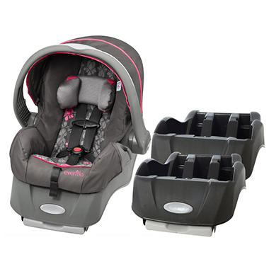 Evenflo Embrace Car Seat and Base Bundle - Alhambra / Black - Free Standard Shipping
