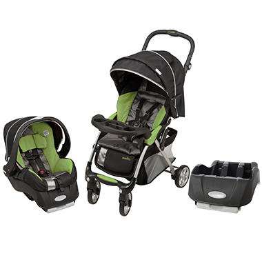 Evenflo Featherlite 400 Travel System with Extra Base - Aloe Green - Free Standard Shipping