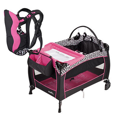 Evenflo Portable BabySuite 300 Playard / Soft Carrier Bundle - Marianna - Free Standard Shipping