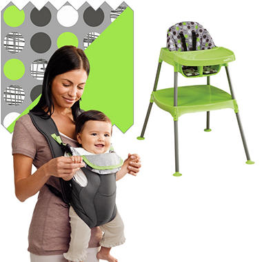 Evenflo High Chair / Soft Carrier Bundle - Dottie Lime - Free Standard Shipping