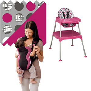 Evenflo High Chair - Soft Carrier Bundle - Dottie Rose / Marianna - Free Standard Shipping